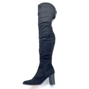 NEW Olivia Miller Boots Textile Block High Heel 9